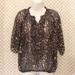 Express sheer animal print ruffle neck top